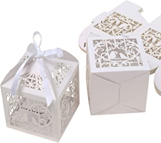 PONATIA 25Pcs/Lot 4 x 4 inches Laser Cut Pearl Paper Party Wedding Favor Ribbon Candy Boxes Large Size Gift Box for Cupcake (White Birds)