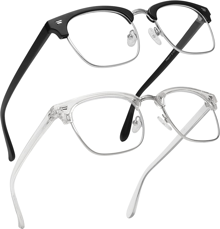 MEETSUN 2-Pack Blue Light Blocking Glasses Women/Men,Anti Eyestrain Filter Blue Ray Semi Rimless Retro Computer Game & UV400/Reduce Glare (Matte Black + Clear)