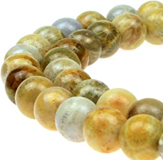 JARTC Natural Coral Jade Chrysanthemum Stone Round Loose Beads for Jewelry Making DIY Bracelet Necklace (10mm)