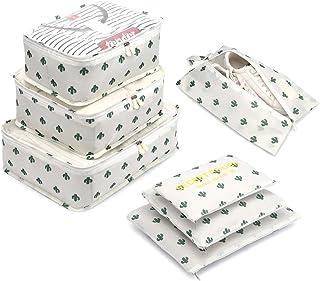 Organizador de Equipaje,LOSMILE 7 en 1 Set Impermeable Organizadores de Viaje para Maletas,3 Cubos de Embalaje +3 Bolsas d...