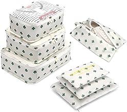 Organizador de Equipaje,LOSMILE 7 en 1 Set Impermeable Organizadores de Viaje para Maletas,3 Cubos de Embalaje +3 Bolsas de Almacenamiento+1 Saco de Zapatos.(Blanco-Cactus)