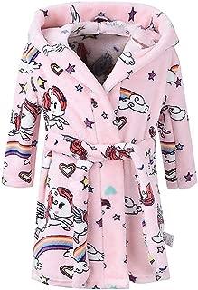 Boys Girls Bathrobes, Toddler Kids Hooded Robes Plush Soft Coral Fleece Pajamas Sleepwear for Girls Boys