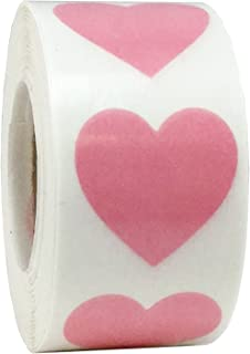 Transparent Pink Heart Stickers Valentine's Day Crafting Scrapbooking 1 Inch 500 Adhesive Stickers