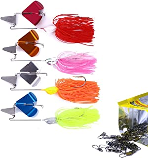 Xfunjoy 4Pcs Metal Fishing Lures Spinnerbait Fishing Buzzbait Spinner Baits for Bass Pike bass jigs Lure Kit for Bass Freshwater
