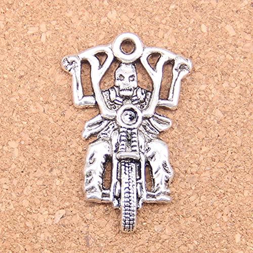 WANM Colgante 4 Uds Encantos Caballero Motocicleta 44X28Mm Colgantes Antiguos Vintage Plata Tibetana Joyería DIY para Collar Pulsera