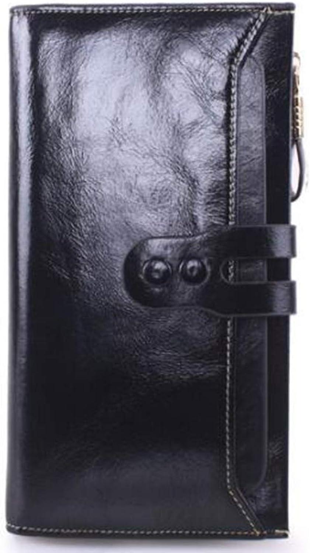 Mifusanahorn Leder Rindsleder MultiFarbe MultiFarbe MultiFarbe verfügbar Wählen Sie Lange Brieftasche Unisex Zipper Wallet Mode große Kapazität Folding Wallet (Farbe   schwarz) B07L9QTDQY beb159