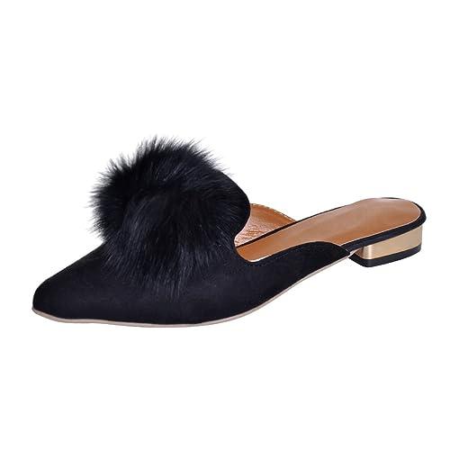 890fc7760896 VFDB Pom Pom Flat Mules Womens Fashion Pointy Slippers Shoes