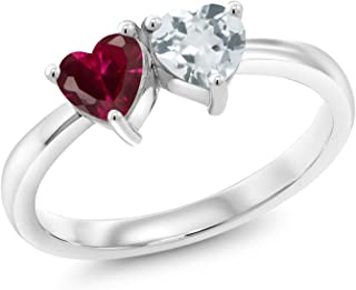 0.98 Ct 2 Heart Shape Red Created Ruby Sky Blue Aquamarine 925 Silver Ring