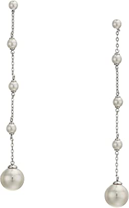 Rosa 5-12mm White Round Pearl & CZ Sterling Silver Linear Earrings