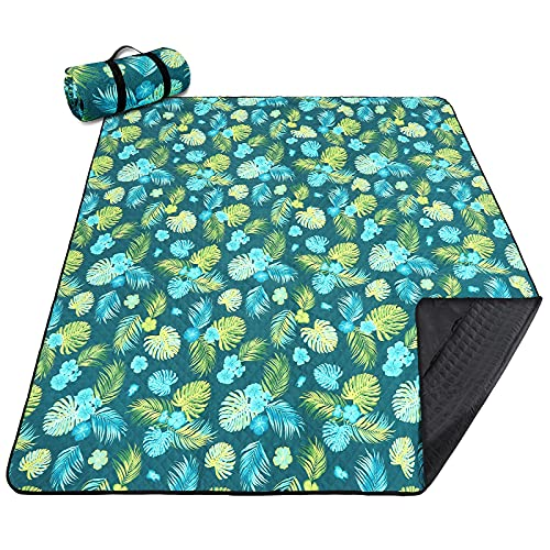 """Picnic Blankets Extra Large, Waterproof Foldable Outdoor Beach Blanket Oversized 83x79"""" Sandproof, 3-Layer Picnic Mat..."""