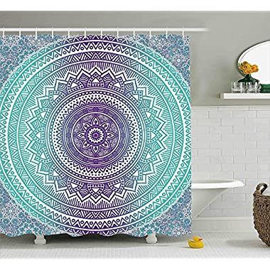 Ambesonne Blue and Purple Shower Curtain, Mandala Ombre Eastern Mystic Abstract Old Fashion Bohemian Native Cosmos Art, Fabric Bathroom Decor Set with Hooks, 70 Inches, Purple