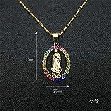SONGK Hip Hop Iced out Big Virgin Mary Collares Colgantes Cadena de Acero Inoxidable de Color Dorado para Mujeres Joyería Cristiana Madonna