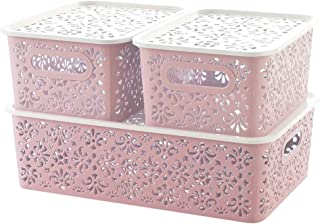 XINGCHENG SPORT Plastic Storage Basket for Household Organization,3 Packs (Pink Basket)