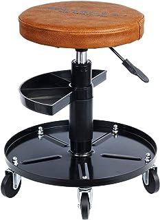 Haskyy Höjd justerbar verkstadsstol verkstadsstol verkstadsstol arbetssäte brun med 5 rullar | ca ø 40 cm | 2 hyllor | 43...