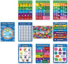 Toddler Learning Poster Kit - 10 Large Educational Wall Posters for Preschool Kids - ABC - Alphabet, Numbers 1-10, Shapes, Colors, Numbers 1-100, Days of The Week, Months of The Year, (18