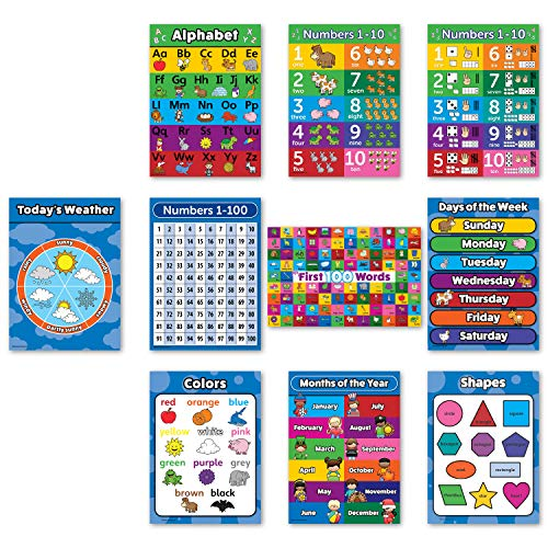Toddler Learning Poster Kit - 10 Large Educational Wall Posters for Preschool Kids - ABC - Alphabet, Numbers 1-10, Shapes, Colors, Numbers 1-100, Days of The Week, Months of The Year, (18' x 24')