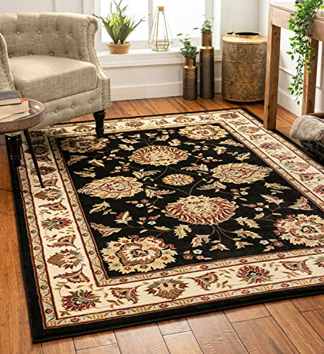 Sultan Sarouk Black Persian Floral Oriental Formal Traditional 8x11 8x10 (7'10' x 10'6' Area Rug Easy to Clean Stain / Fade Resistant Shed Free Contemporary Thick Soft Plush Living Dining Room Rug