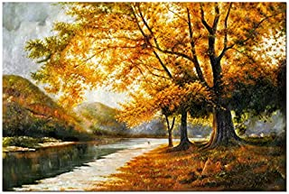 Wieco Art Giclee Canvas Prints Wall Art by Oil Paintings Reproduction Large Contemporary Autumn Trees Pictures for Living Room Bedroom Home Decorations Modern Wrapped Landscape Forest Artwork