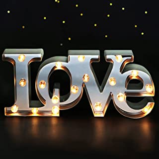 "Bright Zeal 16"" x 7"" Large Love Decor for Bedroom LED Marquee Sign (Mirror.."