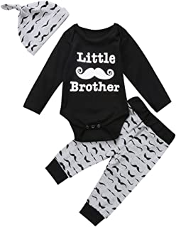Honganda 3Pcs Baby Boy Little Brother Romper Tops+Moustache Pants with Hat Outfit Clothes Set