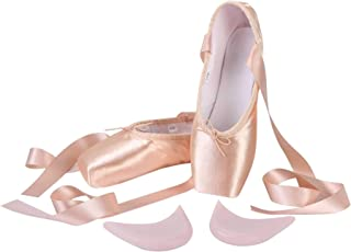 Linodes Professional Stain Ballet Pointe Dance Shoes Slippers with Ribbons and Toe Pads for Girls and Women