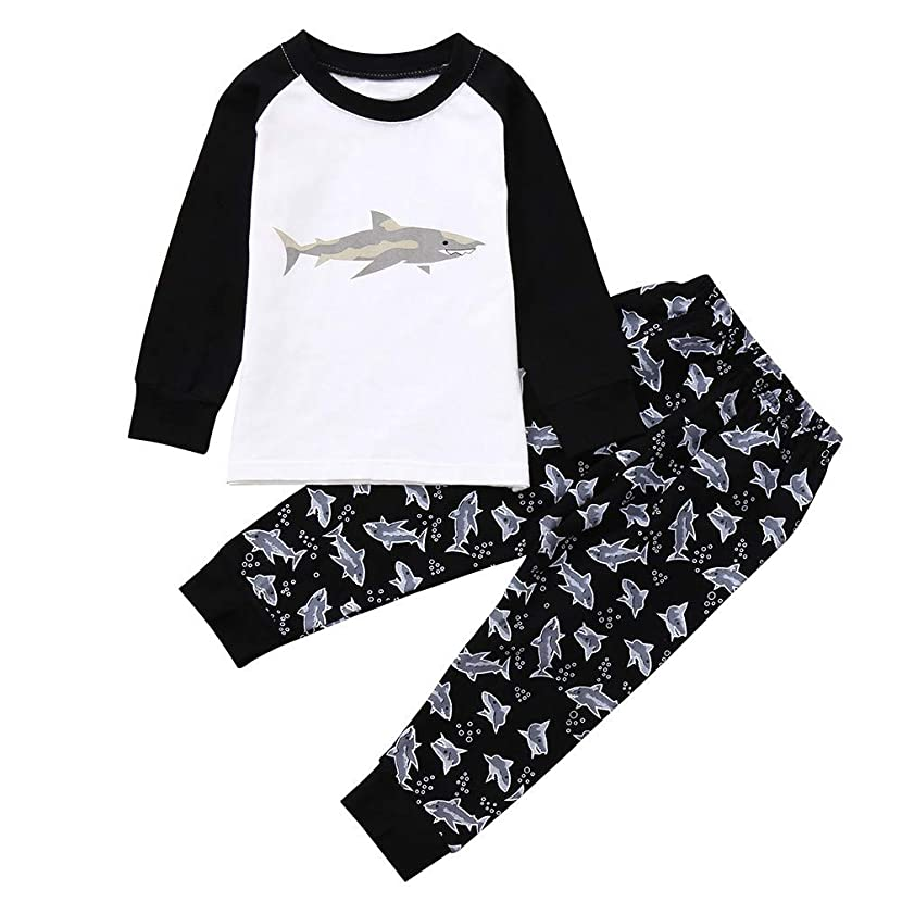 Tronet Kids Clothes, Winter Boys Girls Cute Cartoon Shark Print Tops and Pants Outfits Set … (6Y(Age:5-6Years), White)