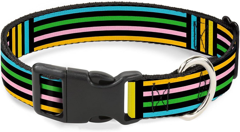 BuckleDown PCW37131M Dog Collar Plastic Clip Buckle, 1 x11 17 , Stripe Blocks Black Multi Pastel