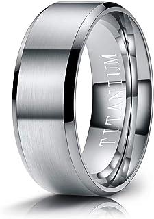 M MOOHAM Titanium Rings 4mm 6mm 8mm 10mm Wedding Bands Matte Beveled Edge Comfort Fit for Men, Black, Gold, Silver, Blue, ...