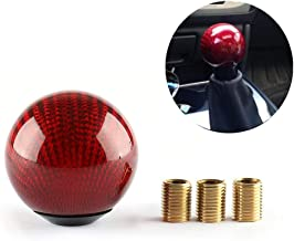 Top10 Racing Carbon Fiber Style Gear Shift Knob Universal Shifter Knobs with 3 Adapters Stick Shifter Round Ball Red