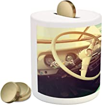Ambesonne Coastal Piggy Bank, Interior of a Classic Car Parked Seaside and The Cloudy Sky Digital Print, Ceramic Coin Bank Money Box for Cash Saving, 3.6