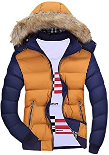Mens Winter Zipped Warm Tracksuit Casual Patchwork Long Sleeve Outwear Coat Cotton Jacket Hoodie