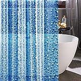 Finnez PEVA-Duschvorhang-Innenfutter, Kieselsteine, transparent, robuste, wasserdichte Duschvorhangeinlage (Pebble – himmelblau, 183 cm breit x 182,9 cm hoch)