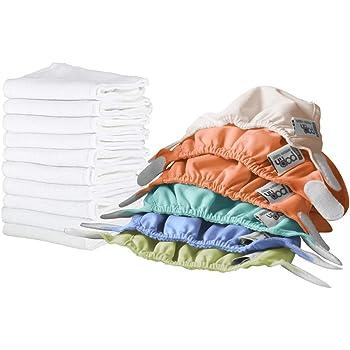 Close Pop-in Pack de 6 couches en tissu et 10 inserts absorbants Tons pastels Pour nouveaux-nés