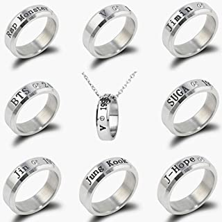 8 Pack Kpop BTS Bangtan Boys Ring with Necklace for Army Gifts