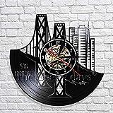 wtnhz LED-Reloj de Pared con Paisaje Urbano de San Francisco, diseño Moderno, Reloj de Pared 3D con Disco de Vinilo Skyline, le da una Idea única de Regalo de Viaje