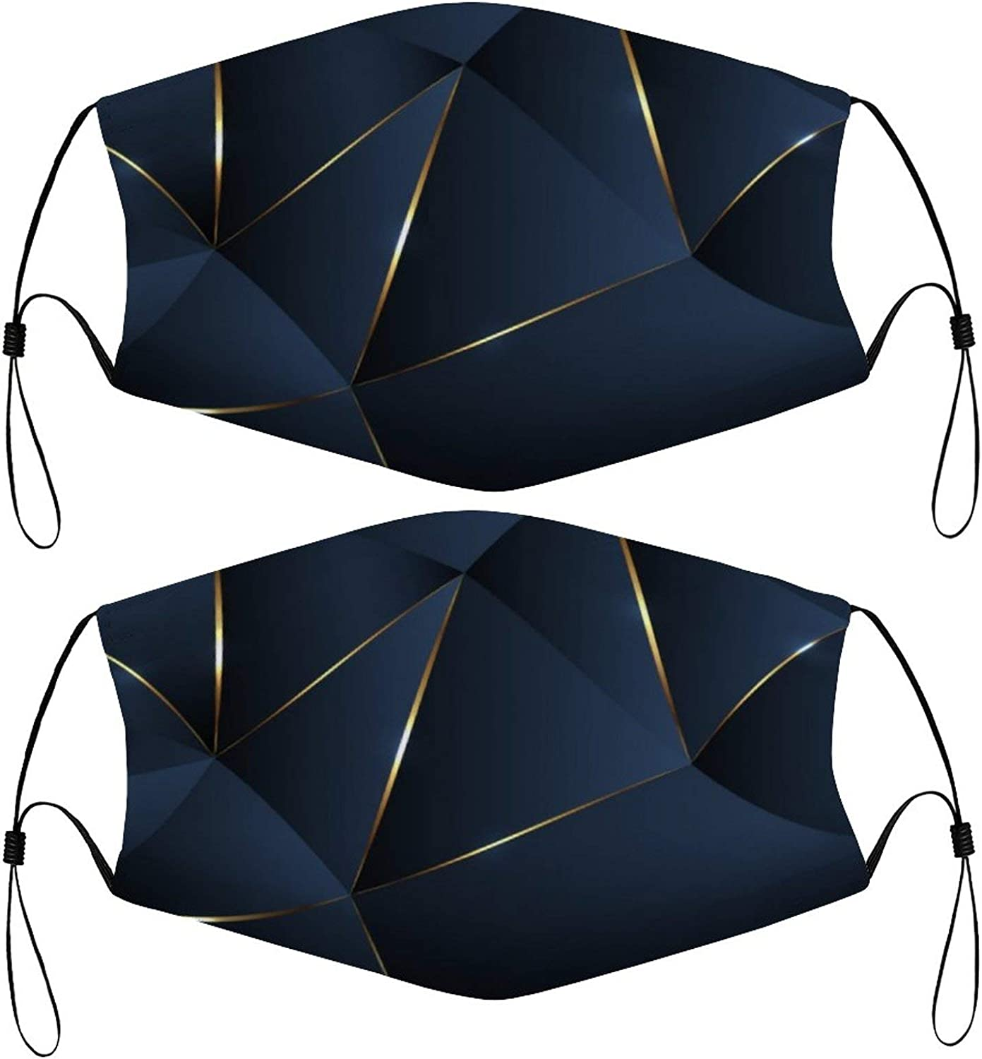 Cool Abstract Kids Face Masks Set of 2 with 4 Filters Washable Reusable Breathable Black Cloth Bandanas Scarf for Unisex Boys Girls