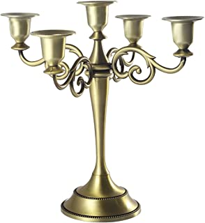 SUJUN Bronze 5-Candle Metal Candelabra Candle Holder 10.6 inch Tall Candlestick Holders for Valentine Christmas Home Party...