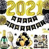 JWTOYZ Silvester Deko 2021 mit Happy New Year Girlande, Fotorequisiten, Konfetti, Papier Pompoms, Silvesterpartydeko für Silvesterparty