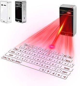 Zeerkeers Teclado inalámbrico Bluetooth láser con proyección virtual portátil para iOS y Android, teléfono inteligente, tableta, ordenador portátil ...