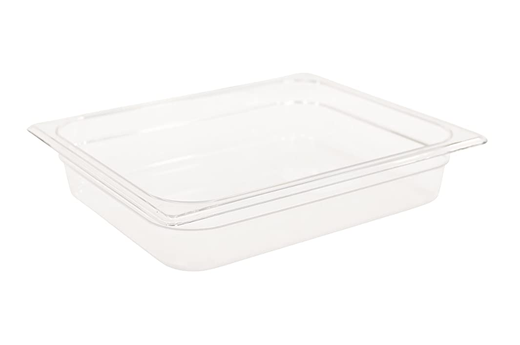 Rubbermaid Commercial Products Cold Food Insert Pan for Restaurants/Kitchens/Cafeterias, 1/2 Size, 2.5 Inches Deep, Clear (FG123P00CLR)