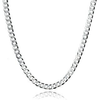 Sterling Silver Italian 2.5mm Diamond-Cut Cuban Curb Link Chain Necklace for Men Women