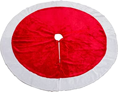 MrXLWhome Christmas Tree Skirt Red 48inches, Large Red Velvet Holiday Christmas Tree Decoration Skirts, Red and White Tree Sk