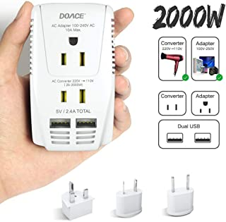DOACE C11 2000W Travel Voltage Converter for Hair Dryer Straightener, Flat Iron, Set Down 220V to 110V, 10A Power Adapter with 2-port USB, EU/UK/AU/US Plug for Laptop, Camera, Cell Phone White