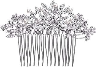 Ogquaton Peigne /à Cheveux Fait Main de mari/ée avec Diamant et Insert de Fleur en Diamant Peigne /à Feuilles dor/ées