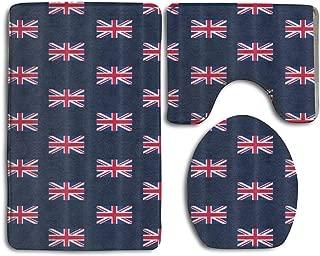 BeautyToiletLidCoverABC UK Flag Union Jack Swim Mat Set,3 Piece Showers Mats Set Skidproof Showers Profile Cover Rugs Mat Toilet,Durable wear-Resisting