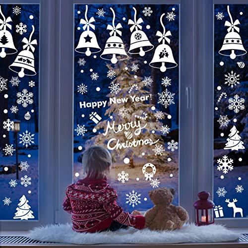 Lifelf Weihnachten Aufkleber Sticker, Weihnachtsdekoration Fensterdeko mit typischen Motiven, Schneeflocke Tannenbaum Rentier, Fensteraufkleber für Zuhause Tür Vitrinen Schaufenster