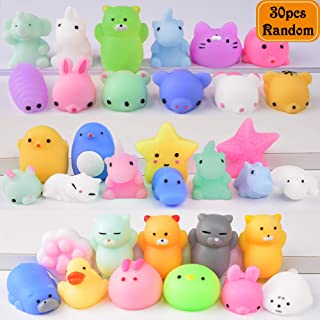 Mochi Squishy Toys FLY2SKY 30Pcs Animal Squishies Party Favors for Kids Stress Relief Toys Kawaii Animal Stress Toys Cat Stress Reliever Squishy Toys Mini Novelty Gifts Seal Rabbit Cat Random Squishys