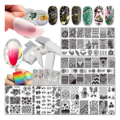 Nail Art Supplies, Flower Nail Art Stamping Plate Kit, Gel Polish Transfer Gradient Nail Art Sponge, 32 pads Gel Nail Polish Remover Wipes Cottons, 3 sheet Water Nail Stickers Decals (Color Kit C)