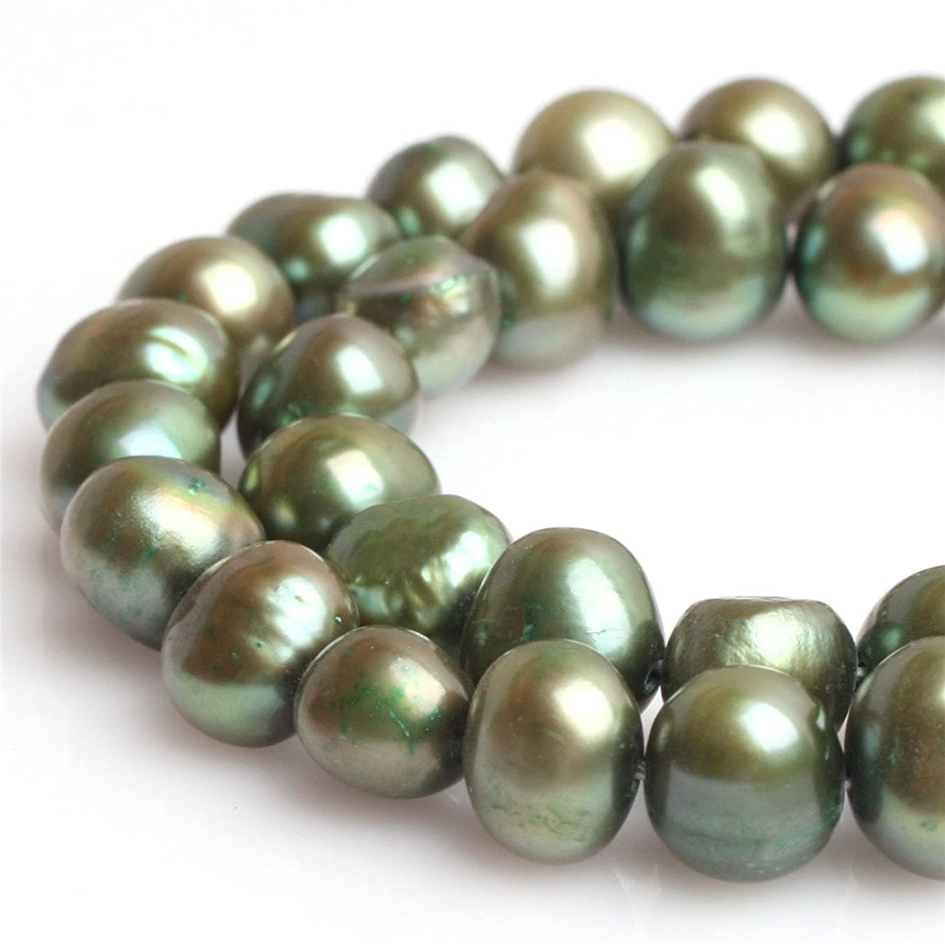 JOE FOREMAN Freshwater Cultured Pearl Beads for Jewelry Making Gemstone Semi Precious 7-8mm Freeform Green 15