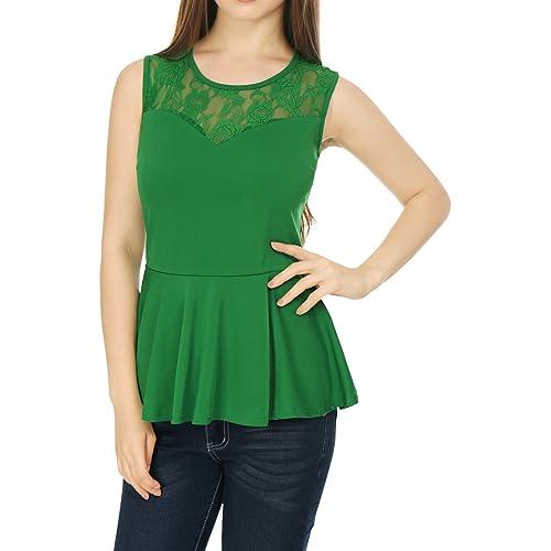 a5a082e1a824 Allegra K Women's Round Neck Lace-Paneled Sleeveless Christmas Peplum Top M  Green